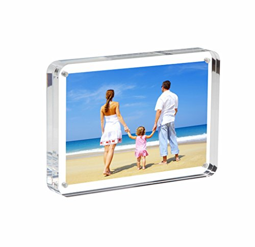 NIUBEE Clear Acrylic Photo Frame 4x6, Double Sided Magnetic Desktop Picture Display with Gift Box Package (24mm Thickness, Round (Freestanding Clear Glass)