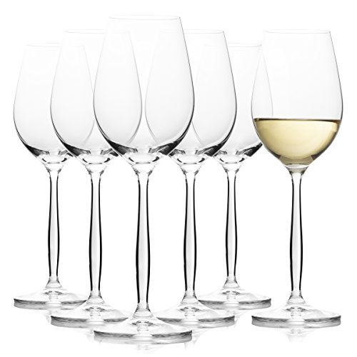 - Long Stem White Wine Glasses - Set of 6 - Unique and Aesthetic Bohemian Crystal Stemware - Small 8.45 Oz Size - Delicate Yet Durable - For Special Occasions and Everyday Use