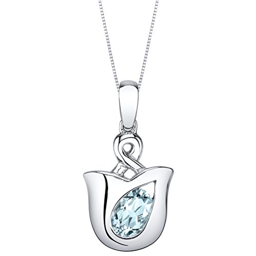 Sterling Silver Tulip Pendant Necklace available in various colored stones