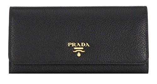 Prada Women's Vitello Grain Long Flap Wallet 1MH132 2E3A Nero (Black)