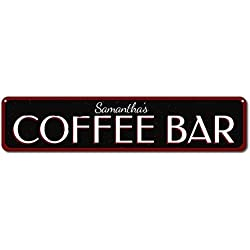 "Coffee Bar Sign, Personalized Name Kitchen Sign, Coffee Lover Sign, Custom Home Coffee Decor, Coffee Sign - Small Metal Sign 3"" X 12"""