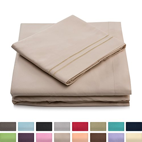 Cosy House Collection King Size Bed Sheets - Cream Luxury Sheet Set - Deep Pocket - Super Soft Hotel Bedding - Cool & Wrinkle Free - 1 Fitted, 1 Flat, 2 Pillow Cases - Beige King Sheets - 4 Piece - Extra Deep Pocket Bed Sheets