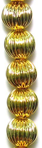- Expo BD53491 Round Pleated Metal Beads, 8 Beads in Strand