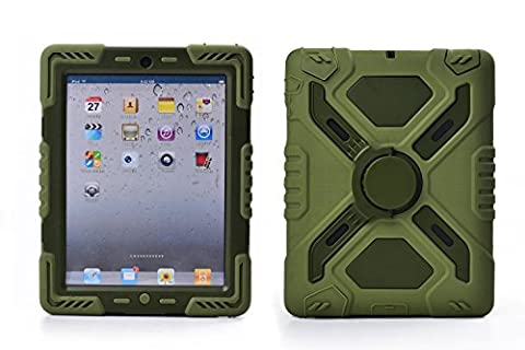 Ipad 2/3/4 Case (NOT FOR IPAD AIR) Plastic Kid Proof Extreme Duty Dual Protective Back Cover with Kickstand and Sticker for Ipad 4/3/2 - Rainproof Sandproof Dust-proof Shockproof (Original Ipad 4 Case)