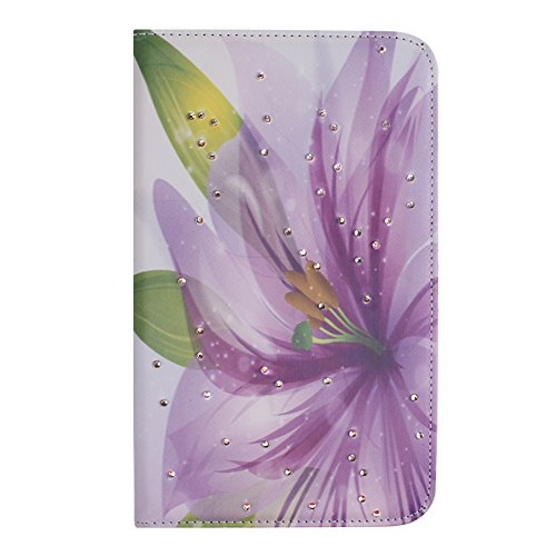 IKASEFU(TM) Girl's Cute Flower PU Leather Folio Case - Galaxy 3 Tablet Case 7 Inch Bling