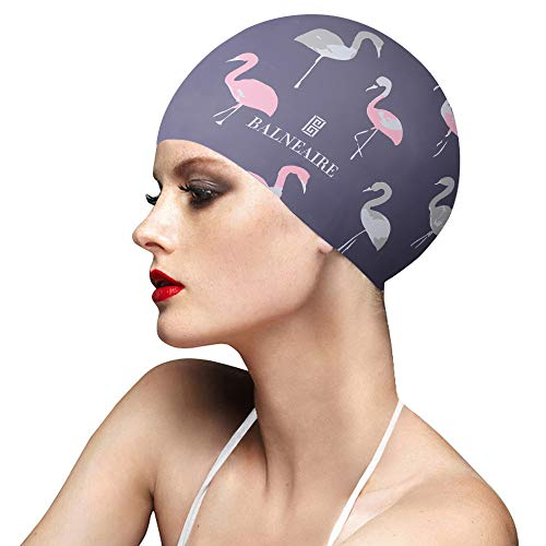 - BALNEAIRE Silicone Swim Cap for Women, Waterproof Long Hair Swimming Caps Flamingo Print Grey