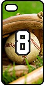 Baseball Sports Fan Player Number 8 Black Rubber Decorative iPhone 4/4s Case