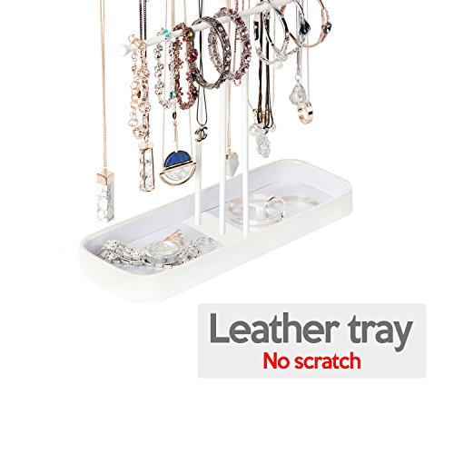 JackCubeDesign Metal 3 Tier Jewelry Display Stand Tree Organizer Bracelet Necklace Holder Rack Hanger Tower with Earring Ring Tray Storage Tabletop(White, 12.1 x 4.1 x 16.1 inches) – :MK320F by JackCubeDesign (Image #1)
