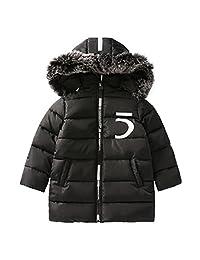 OCHENTA Kid Boy Mid Long Winter Cotton Parka Coat Age of 4-11