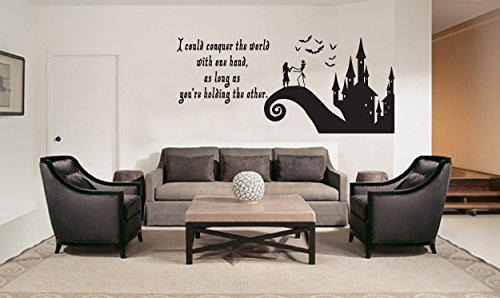 LA DECAL Jack and Sally Love Story Nightmare before Christmas beautiful Family Room living room Decoration or window decal sticker Approximately 40X19 inches black -