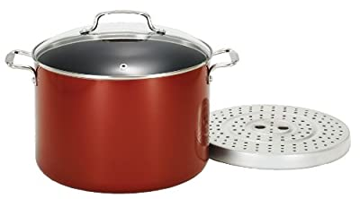 T-fal C10764 Specialty Hard Enamel Nonstick Tamale Steamer, 12-Quart Cookware, Red