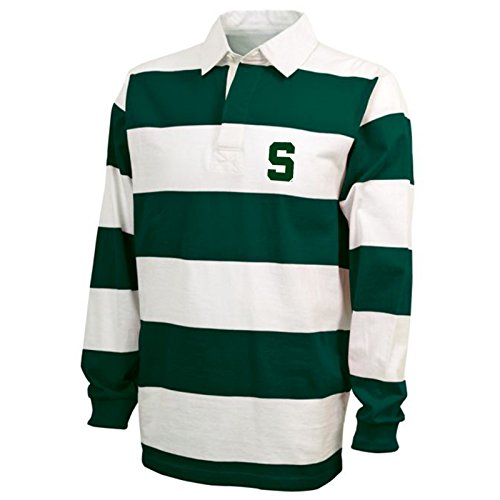 Collegiate Rugby Shirt Stripe - UGP Campus Apparel Michigan State Spartans Block S Rugby Polo - Large - Forest/White