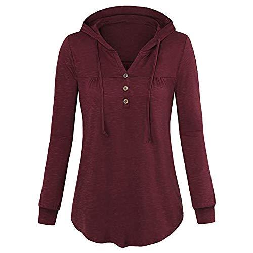 Ulanda Women's Long Sleeve Hoodie Tunic Shirts V Neck Pleats Lightweight Flowy Hooded T Shirt Tops ()