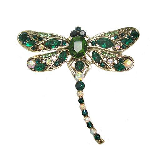 TTjewelry Little Dragonfly Bird Brooch Pin Rhinestone Crystal (Green) ()