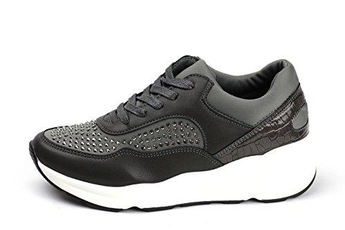 Damen Mode Damen Schnürer Turnschuhe Flache Schuhe Sneakers Fitnessstudio Pumps - Schwarz, EU 38