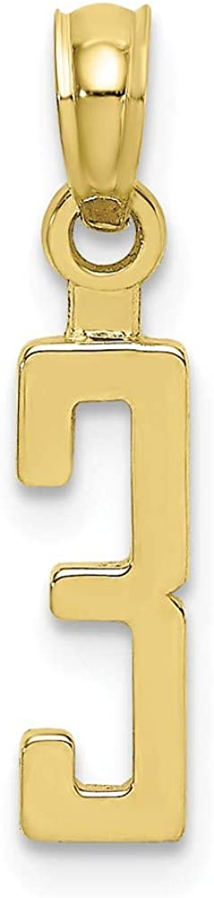 Solid 10k Yellow Gold Number 3 Block Charm Pendant