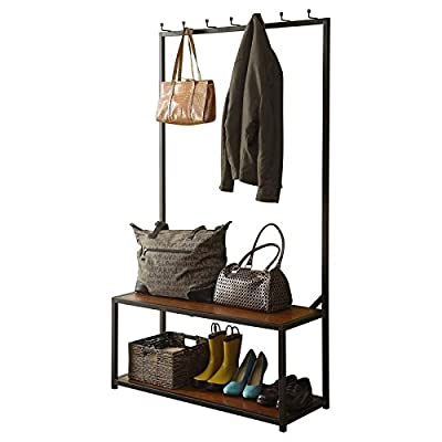 Farmhouse Style Hall Tree Made Made of Metal And Wood Seat With Chestnut Finish With Hooks and 7 Hooks Organize and Storage Now - Bring clean lines and clear space to your well-curated home with this metal and wood hall tree, a sophisticated addition to your furniture collection. Its open design brings breezy style to any space while its 2-tone finish adds a splash of color to your decor. Add it to the entryway to complement a farmhouse aesthetic or use it to round out an understated look in the mudroom. Its 7 hooks are perfect for hanging jackets, bags, and scarves, while its storage bench can be used to stow your favorite boots and other footwear. Pair it with clean-lined framed prints for a sleek display, then round out the arrangement with a jute rug for a subtle touch of texture. Stage this design alongside lush potted plants for a touch of botanical flair or match it with a sunburst-inspired wall mirror for contrasting style. Fusing function with style, this must-have hall tree is the perfect finishing touch to your well-curated home. - hall-trees, entryway-furniture-decor, entryway-laundry-room - 417Lo2YHCKL. SS400  -
