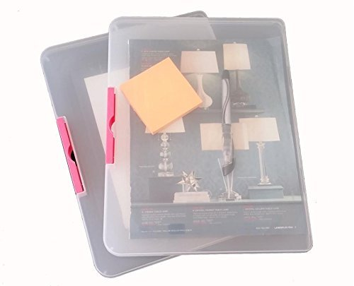 Daiso Japan's Clear Plastic Document Case (A4) - Clear, Pink