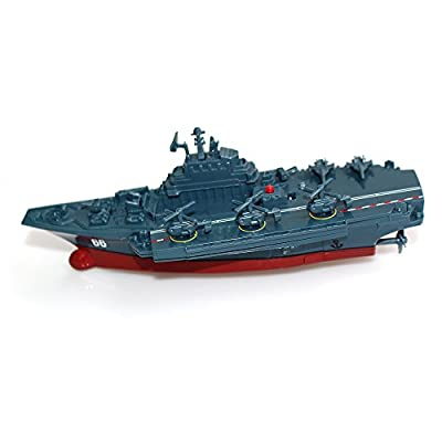 Tipmant Military Remote Control Aircraft Carrier Model RC Boat Ship Speedboat Yacht Electric Water Toy - Blue (2.4 G, Antenna Not Required)