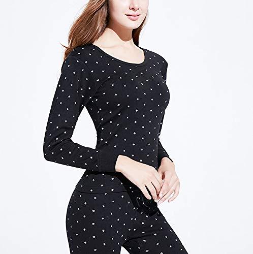 Termico pantalón Conjunto Black camiseta Invierno Elástico Redondo Zzzzy Cuello Pijama De Mujer xqCwA6Z6