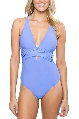 EVALESS Womens Vintage Trendy V Neck Self Tie Strappy Padded One Piece Swimsuit Monokini Medium Silver
