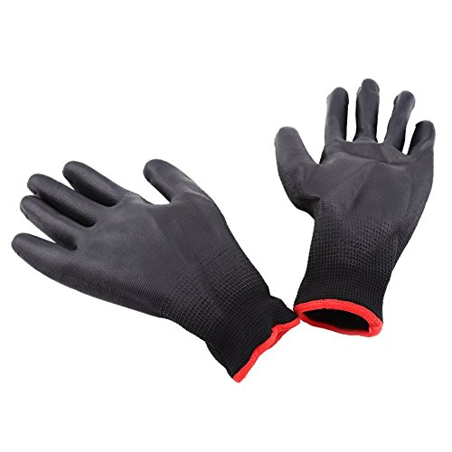 Cheap Black Color Polyurethane Nylon Glove PUG Work Glove , Pack Of 12 ( Size : M ) for sale
