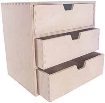 SEARCH BOX - Caja pequeña de Madera con 3 cajones, 28,5 x 20,5 x 28,5 cm: Amazon.es: Hogar