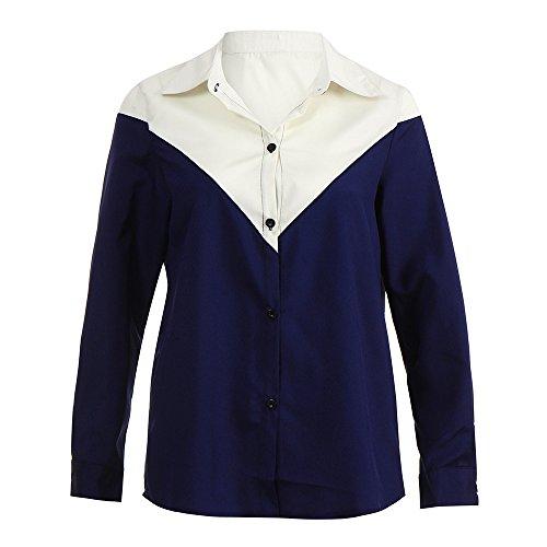 Imprimer Mode LUBITY Les Rtro S Shirt boutonn Slim Stripe XL Automne Marie Couleur et T Col Top Casual Printemps Femmes Manches Longues pour Feuille T6a61ASr