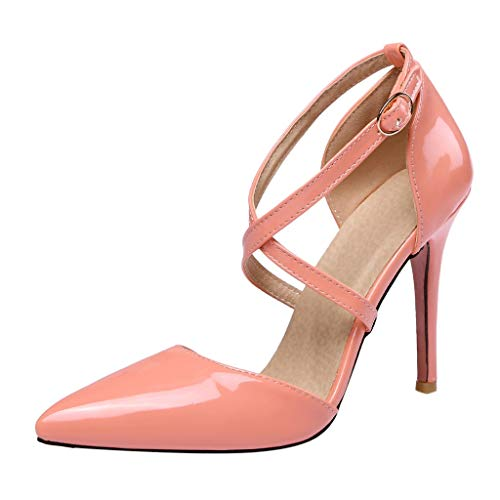 Cenglings Women's High-Heeled Pumps, Sexy Patent Pointed Toe Cross Straps Stiletto Heel Sandals Party Dress Shoes Pink (Patent Leather Sandals Guess)