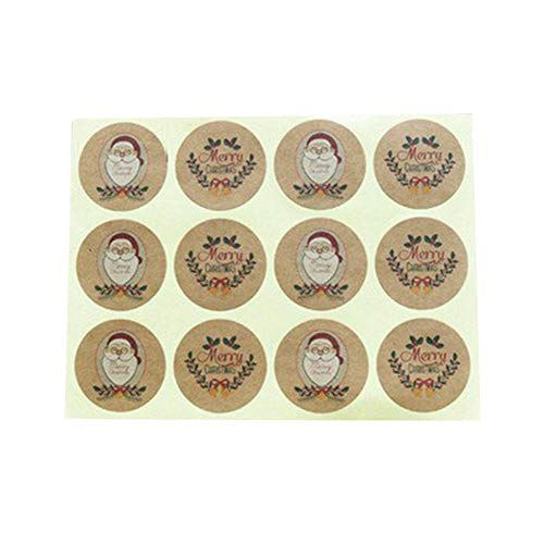 ETbotu 12Pcs/Sheet DIY Kraft Classic Paper Sticker Seal Sticker Paper Label