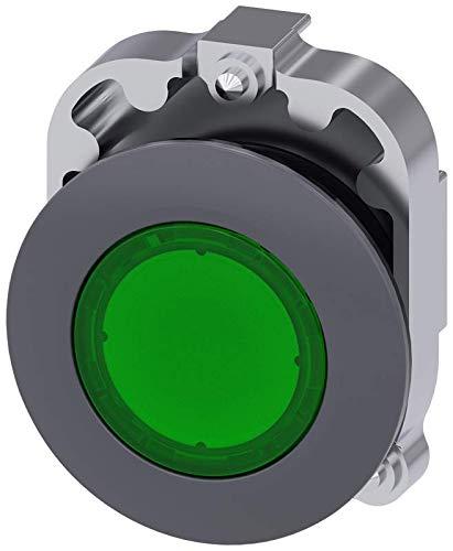Siemens 3SU10610JB400AA0 Illuminated Pushbutton, Plastic & Metal, IP66, IP67, IP69K Protection Rating, Matte Metal Flat, 30mm, Green