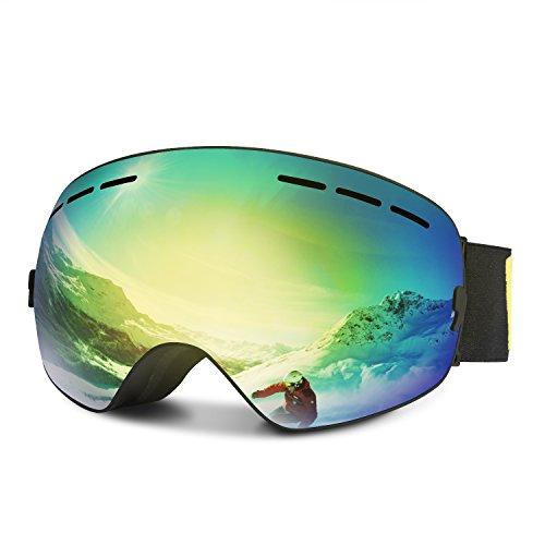 ALTMAN Ski Goggles, Winter Over Glasses Snowboard Goggles with Anti-Fog, 100% UV400 Protection, Wind Resistance, Interchangeable Frameless Spherical Lens, Skate Glasses for Men, Women&Youth(Gold)