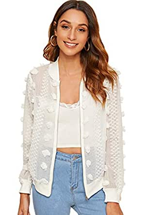 MAKEMECHIC Women's Sexy Applique Sheer Long Sleeve Zipper Crop Bomber Jacket White#1 Large