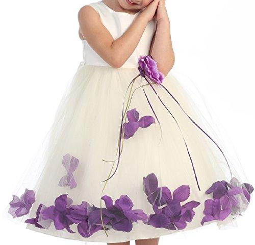 BluNight Collection Wedding Pageant Satin Flower Petal Big Flower Girls Dresses (16KD0B) Ivory Eggplant 10 ()