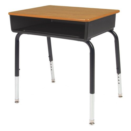 785 Series Colored Student Desk, Grey Nebula Laminate Top, Char Black Finish, Black Book Box Color
