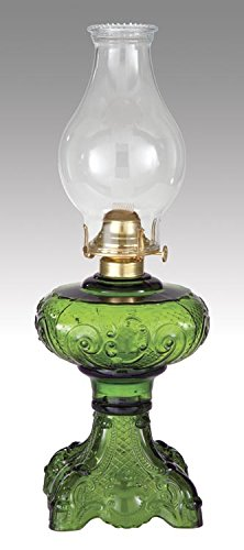 B&P Lamp Dark Green Princess Feather Oil Lamp Princess Feather Pattern