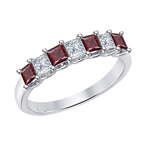 (Princess Cut Red Garnet & Diamond Half Eternity 14k White Gold .925 Sterling Silver Wedding 7-Stone Band Ring for Women)