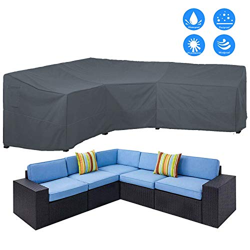 AKEfit Patio Furniture Cover Outdoor V-Shaped Sectional Sofa Cover Premium Waterproof Fabric Garden Couch Protector Grey 100