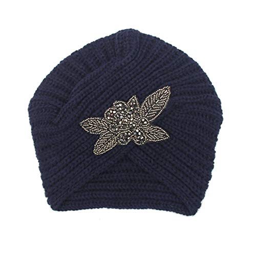 ink2055 Fashion Rhinestone Flower Beanie Cap Hat Women Ladies Casual Warm Knitted Autumn Winter Hat Cap - Navy Blue