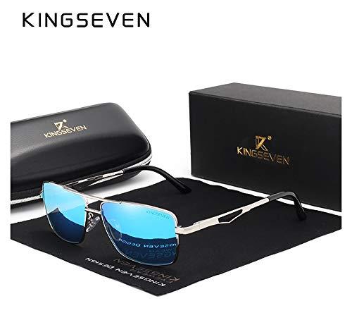 Genuine Kingseven quality square sunglasses 2018 men fashion polarized and UV400 Ultra light Al-Mg ()