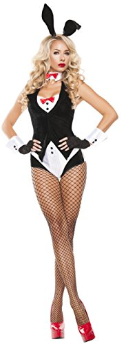 Starline Women's Midnight Bunny Sexy 5 Piece Costume Set, Black/White, -
