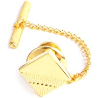 Square Textured Golden & Silvery Tone Men's Tie Tack