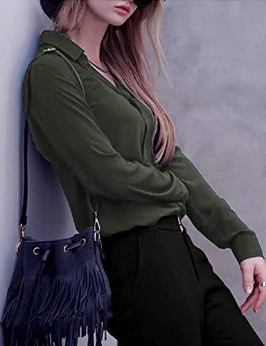 Simple Mousseline Dame Unicolore Chemisier Revers Haut Boutonnage Manches Blouse Affaires Blouse Spcial Chemise Shirts Style Longues Office Mode Loisir Large Gr Elgante Femme xqXwXgOS