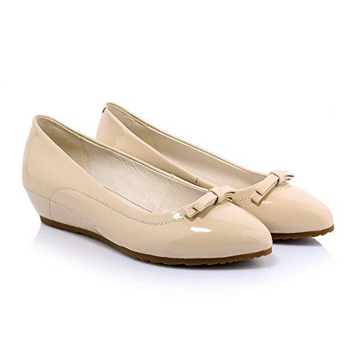 AdeeSu Womens No-Closure Urethane Pointed-Toe Urethane Pumps Shoes SDC03757 Apricot a9agNMY