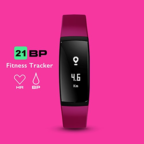 Fitness Tracker,AUPALLA 21BP Smart band Activity Tracker Work With Heart Rate Monitor and Blood Pressure Measure Pedometer Sleep Monitor Calories Track Support iPhone Android Smartphone (Purple)