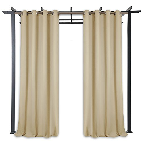 StangH Pergola Outdoor Privacy Curtains Panels - Blackout Outdoor Curtains Rust Grommet Top Mildew Resistant Water & Wind Repellent for Patio/Balcony / Front Porch, Beige, Wide 52 x Long 84, 1 Pc by StangH