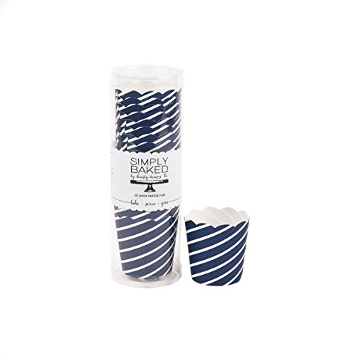 Simply Baked Petite Paper Baking Cup, Navy Print, 20-Pack, Disposable and Oven-safe