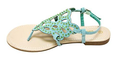 Anna Adele-1 Donna Infradito Scamosciata Tinta Unita Scamosciata Con Perline Decorazione Cinturino Alla Caviglia Sandali Con Cinturino Alla Menta