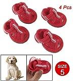 Como 4 Pcs Pet Dog Red Mesh Sandals Nonslip Shoes Size 5, My Pet Supplies