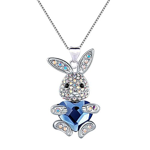 EleQueen Easter Day Women's Silver-tone Blue Bunny Heart Pendant Necklace Adorned with Swarovski? Crystals (Tone Pendant Set)
